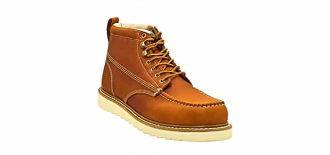 Golden Fox Men's Premium Leather - Wedge Sole Construction Work Boot
