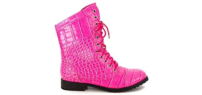AMB Designs Women's Pink Gator - Combat Boot