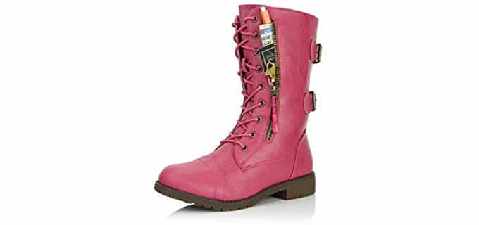 DailyShoes Women's Military Combat Lace Up - Mid Calf Pink Boots